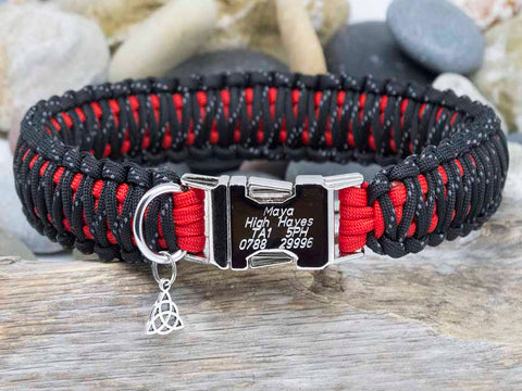 Reflective Black and Red Paracord Dog Collar - Engraved