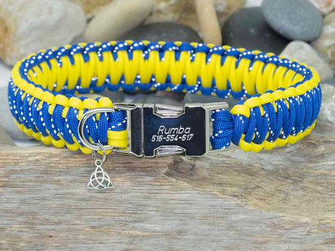 Handmade Engraved Dog Collar Reflective Blue and Yellow