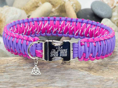 Reflective Dark Pink and Bright Purple Engraved Dog Collar