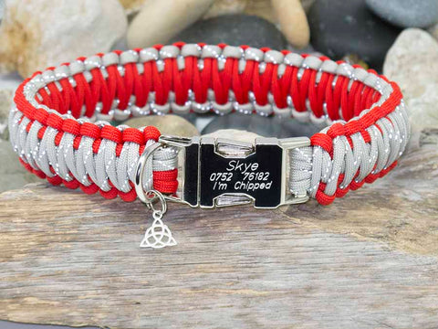 Engraved Paracord Dog Collar Reflective Silver and Red