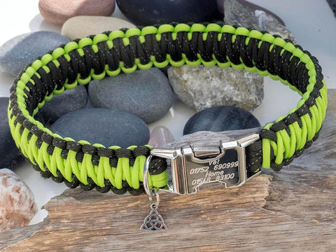 Reflective Army & Lime Green Paracord Dog Collar