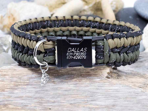 Reflective Black, Army Green and Coyote Brown Dog Collar