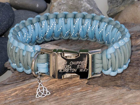 Reflective Grey and Crystal Blue Personalised Dog Collar