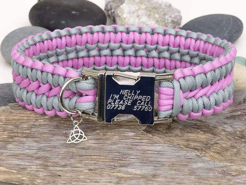 Apollo Paracord Dog Collar - Rose Pink & Silver Grey