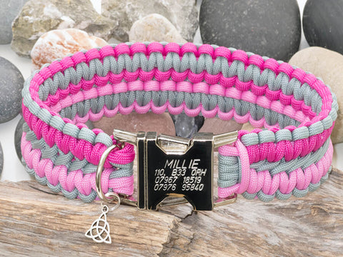 Silver Grey and Two Tone Pink Dog Collar