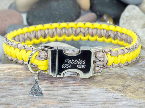 Handmade Paracord Dog Collar Desert Camo and Yellow
