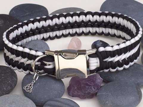 Luxury Black and White Extra Wide Paracord Dog Collar