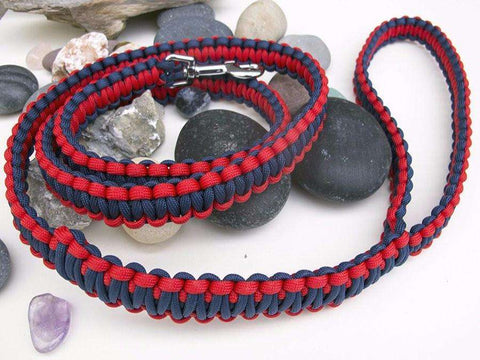 Navy Blue & Red Paracord Dog Lead