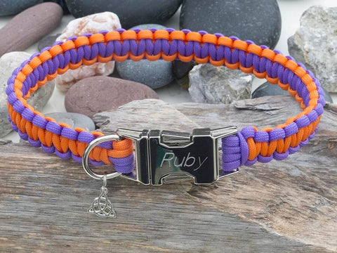 Paracord Dog Collar Orange & Light Purple - Cobra Style