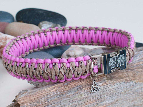 Luxury Pink and Desert Camo Paracord Dog Collar