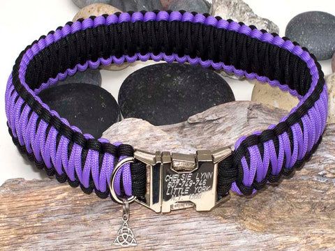 Purple & Black Paracord Dog Collar with Engraved Buckle