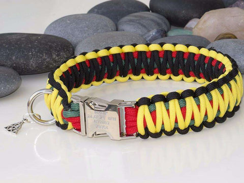 Rastafarian Coloured King Cobra Paracord Dog Collar