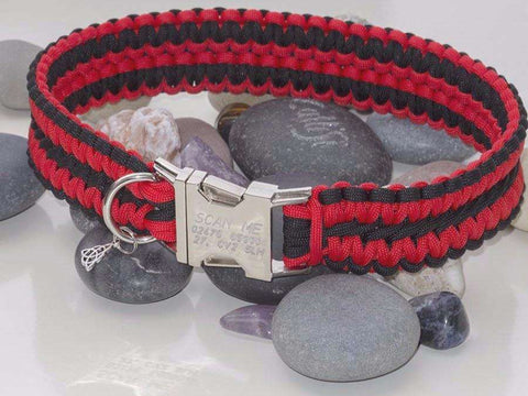 Luxury Red & Black Extra Wide Paracord Dog Collar