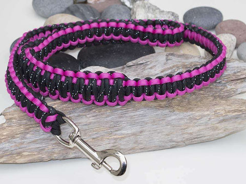 Reflective Black & Pink Paracord Dog Lead