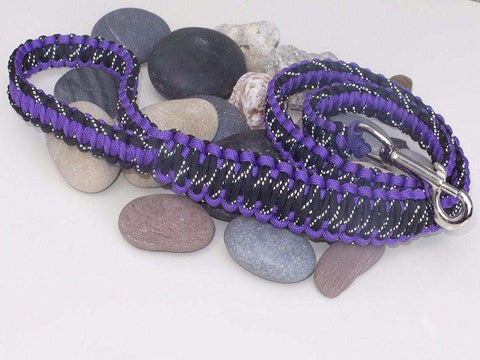 Reflective Black and Purple Paracord Dog Lead