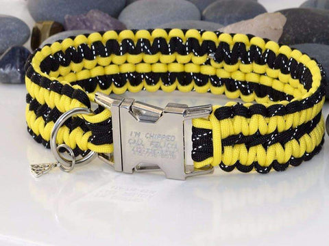 Engraved Paracord Dog Collar - Reflective Black and Yellow