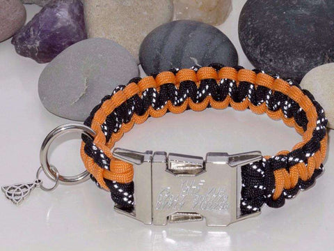 Reflective Black & Orange - Cobra Dog Collar