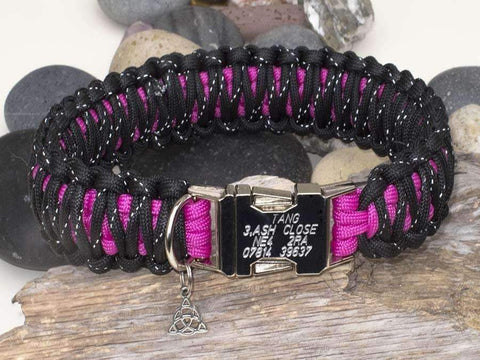 Dark Pink & Reflective Black Paracord Dog Collar