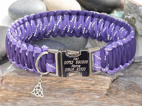 Reflective Purple & Dark Purple Paracord Dog Collar