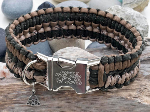 Engraved Paracord Dog Collar - Brown, Green & Desert Camo