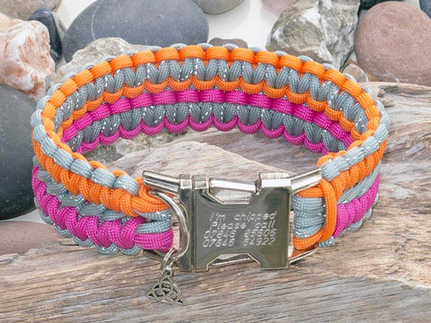 Engraved Paracord Dog Collar - Reflective Silver Grey, Orange and Pink