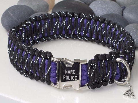 Reflective Black & Purple Paracord Dog Collar - Wide