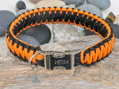 Orange and Reflective Black Paracord Dog Collar