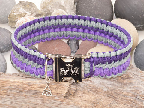 Handmade Paracord Dog Collar - Two Tone Purple & Silver Grey