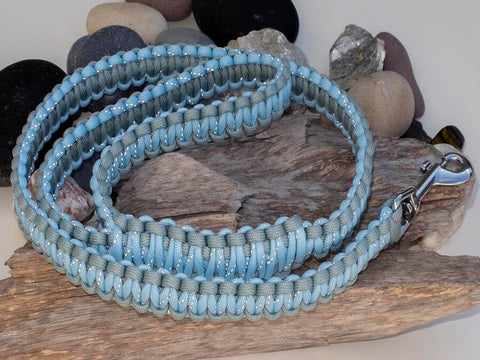 Reflective Crystal Blue & Grey Paracord Dog Lead