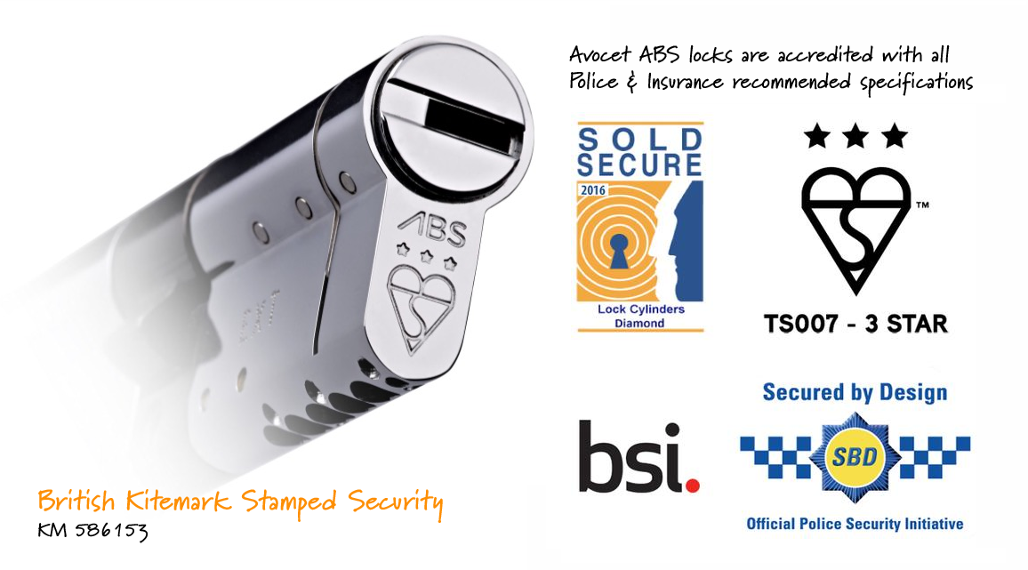 avocet abs locks are accredited to sold secure diamond, secured by design and the british kite mark standards with a TS007 3 star rating