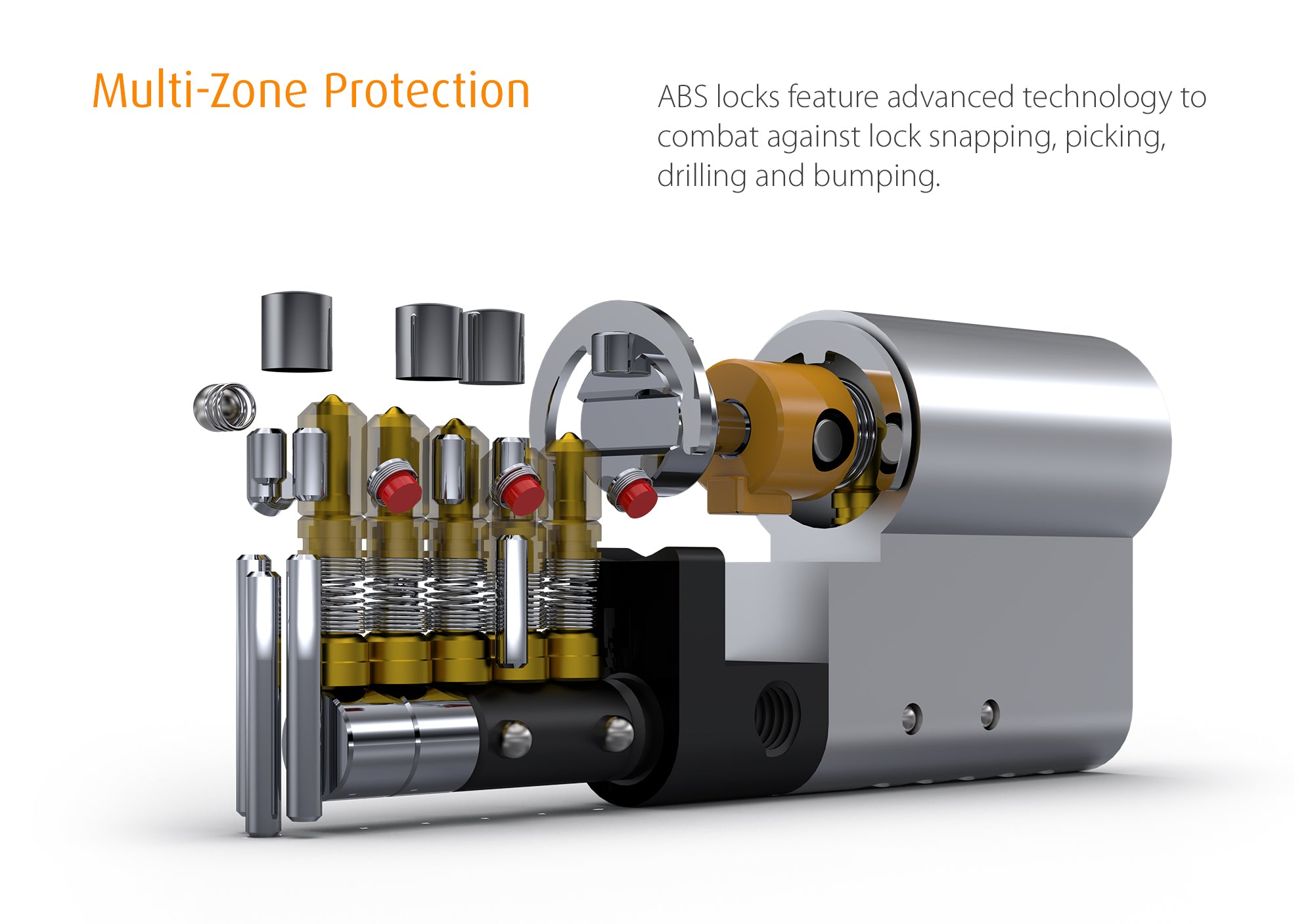 ABS locks feature multi zone protection against lock bumping, picking, drilling and snapping