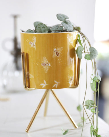 Bee Planter With Gold Stand Yellow
