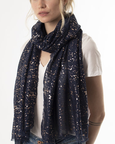 Navy Blue & Rose Gold Metallic Splatter Scarf