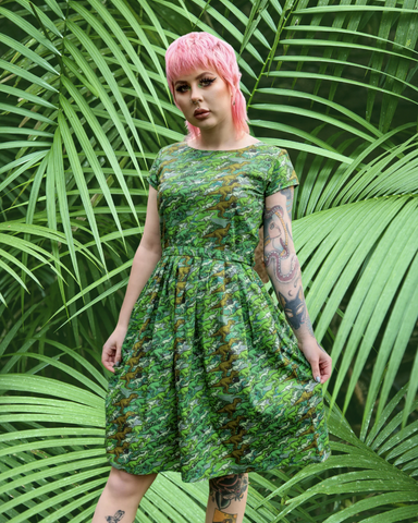 Camo Dinosaur Printed Tea Dress