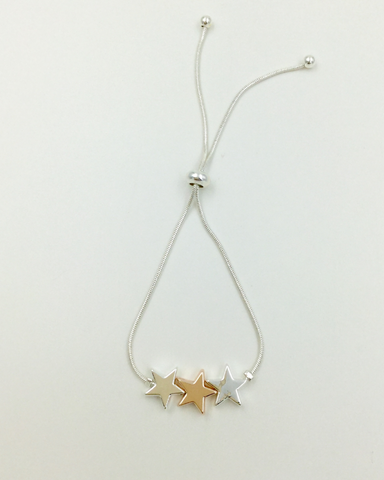 Silver And Rose Gold Triple Star Drawstring Bracelet