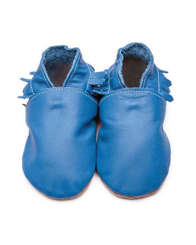 Blue Leather Moccasin Baby Shoes