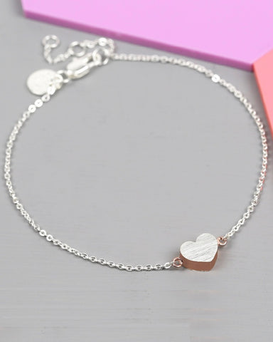 Brushed Rose Gold Heart Bracelet