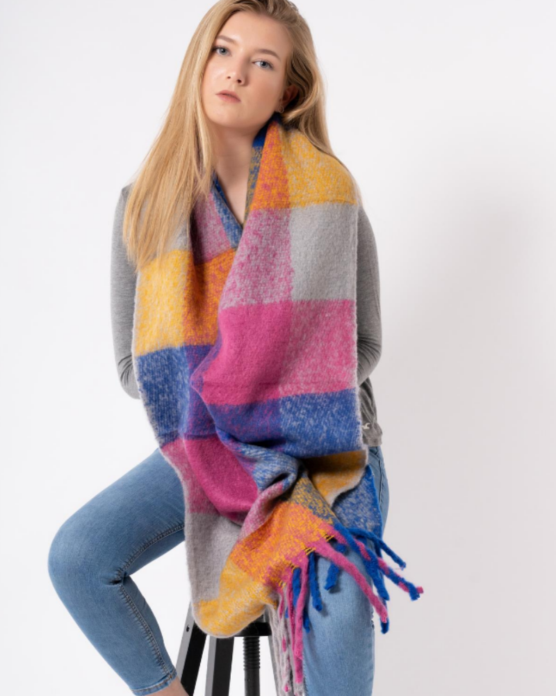 Bright Check Blanket Scarf