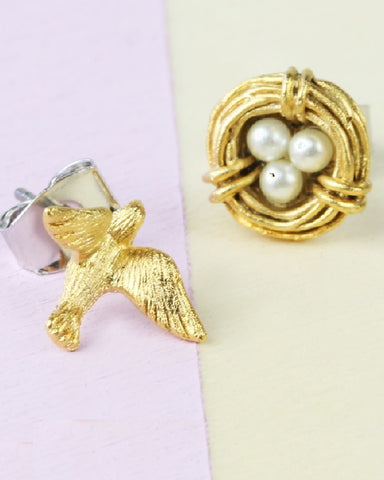 Swallow And Nest Earring Set Gold