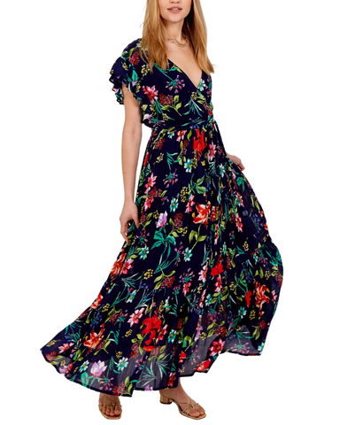Floral Frill Double V Maxi Dress Navy