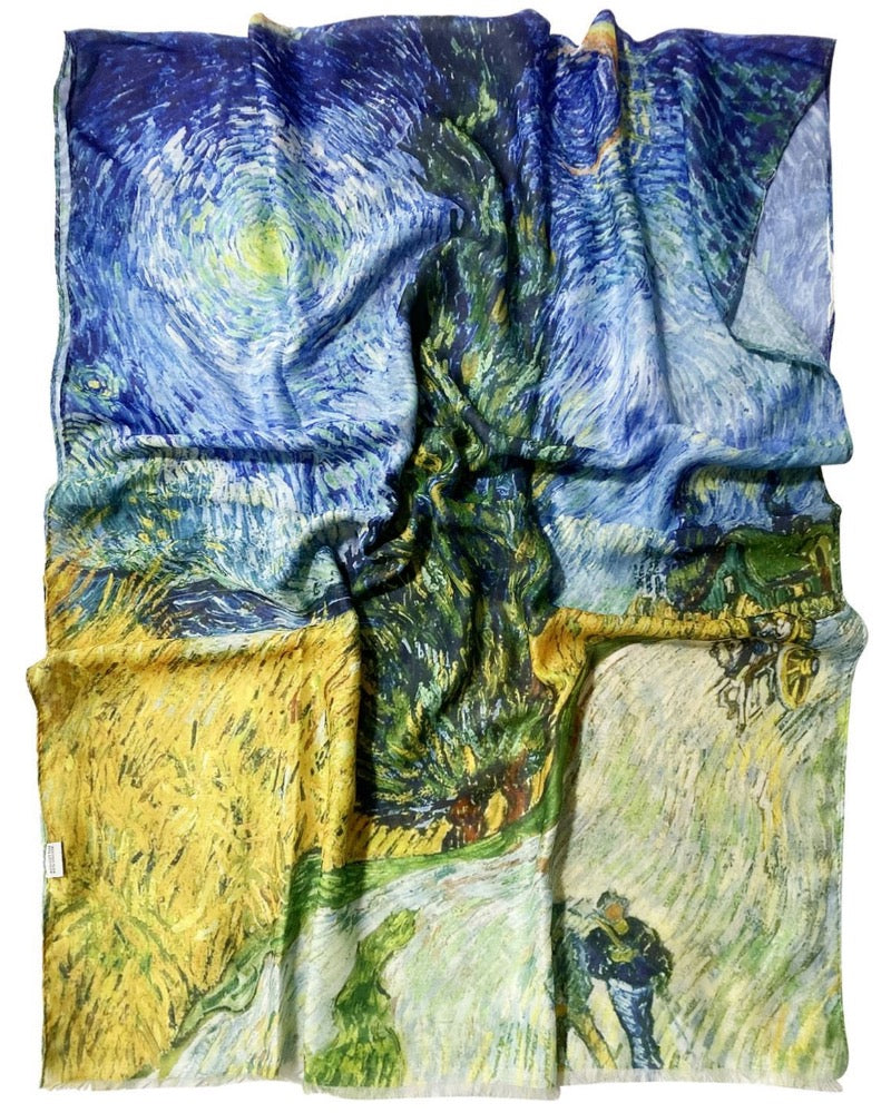 Vincent Van Gogh Cyprus And Star Artist Painting Scarf