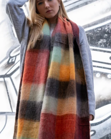 Orange Tartan Check Blanket Scarf