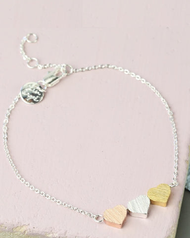 Three Mixed Hearts Charm Bracelet