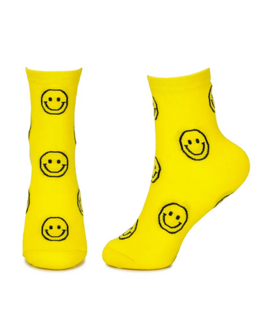 Lets Smile Unisex Crew Socks Yellow