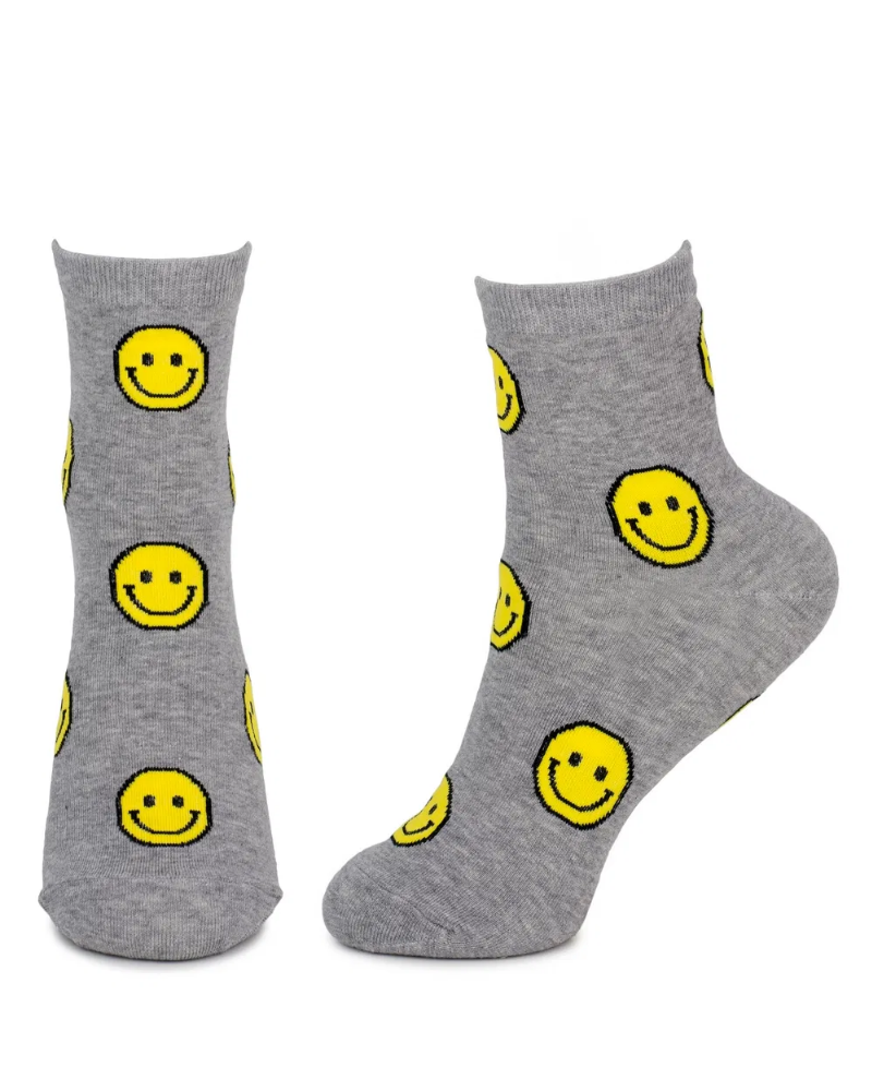 Lets Smile Unisex Crew Socks Grey
