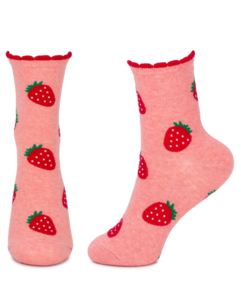 Strawberry Punnet Socks Unisex Crew Socks