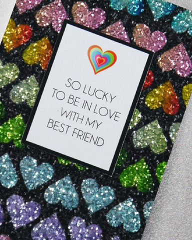 So Lucky To Be Glitter Greeting Card