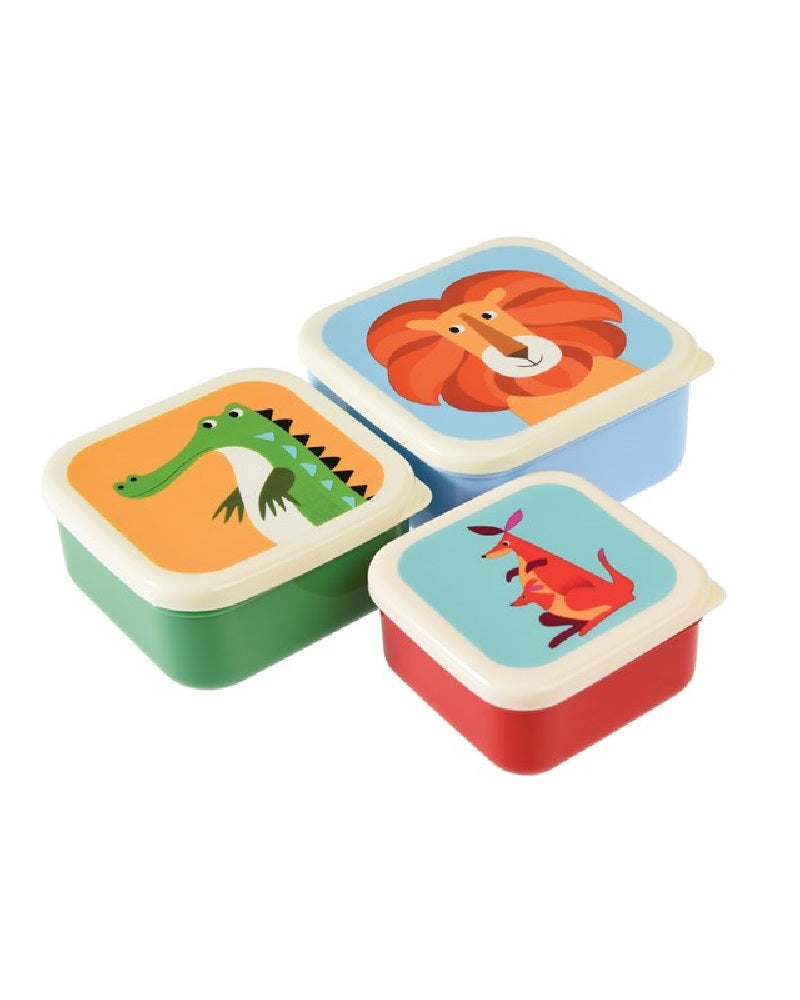 Animal Snacking Boxes Set of 3 Bamboo Fibre
