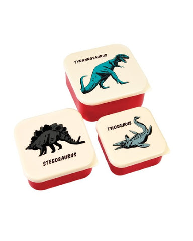 Prehistoric Land Dinosaur Snacking Boxes Set of 3 Bamboo Fibre