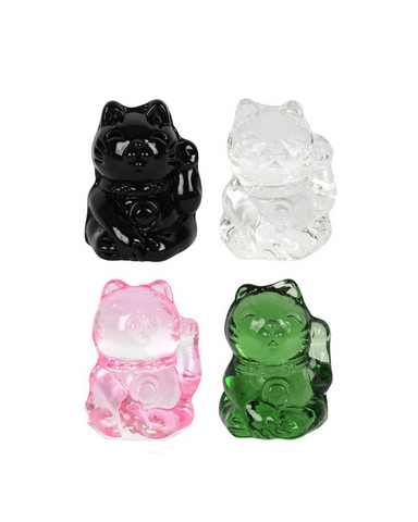 Lucky Cat Glass Charm In Pouch